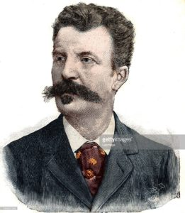 "Portrait de Guy de Maupassant (1850-1893) ecrivain francais. Gravure in ""Le Petit parisien"", 1892. Collection privee. ©Lee/Leemage"